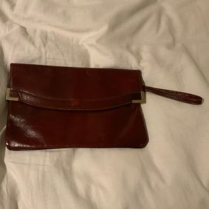 Vintage Burgundy Red Leather Cluth